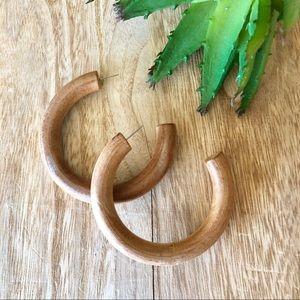 NEW! Wood Hoop Earrings in Tan Brown Natural
